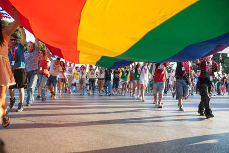 THESSALONIKI, GREECE - JUNE 15  Unidentified participants taking part to the second gay pride march through the city of Thessaloniki on June 15, 2013 in Thessaloniki, Greece