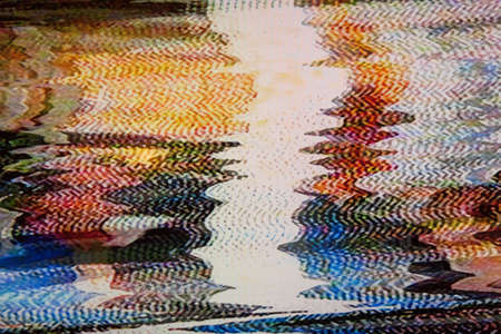 Television screen with static noise caused by bad signal reception photo