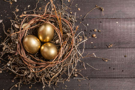 Golden eggs in nest on dark vintage wooden background   Reklamní fotografie
