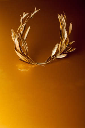 ancient tradition: Golden Olive Wreath on golden background