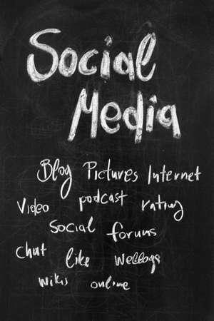 weblogs: Conceptual hand drawn social media flow chart on black chalkboard Stock Photo