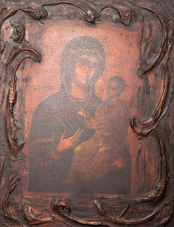iconography: ARISTINO VILLAGE, GREECE - APRIL 30: The Virgin Mary and Jesus Christ as a child, a Byzantine iconography in the interior of village church, on April 30, 2014 in Aristino Village.