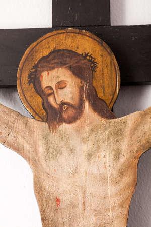 iconography: ARISTINO VILLAGE, GREECE - APRIL 30: Crucifixion scene of Jesus, a Byzantine iconography in the interior of village church, on April 30, 2014 in Aristino Village.