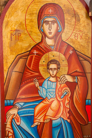 ARISTINO VILLAGE, GREECE - APRIL 30: The Virgin Mary and Jesus Christ as a child, a Byzantine iconography in the interior of village church, on April 30, 2014 in Aristino Village.