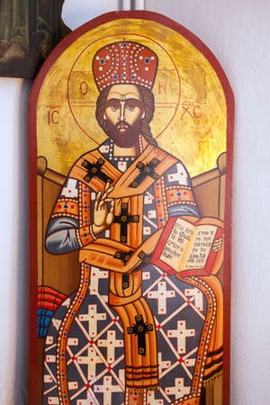 iconography: ARISTINO VILLAGE, GREECE - APRIL 30: The Jesus Christ, a Byzantine iconography in the interior of village church, on April 30, 2014 in Aristino Village.