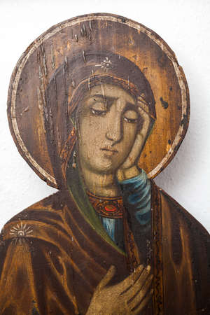 iconography: ARISTINO VILLAGE, GREECE - APRIL 30: Mother of Jesus crying under the cross, a Byzantine iconography in the interior of village church, on April 30, 2014 in Aristino Village.