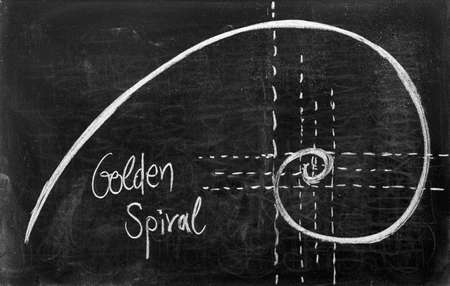 sequence: Fibonacci spiral and golden section on blackboard