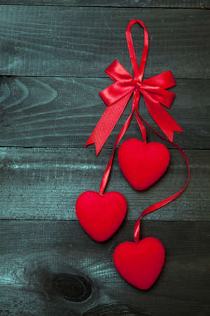 black boards: Red hearts on black boards Stock Photo