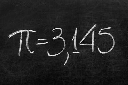 The mathematical sign or symbol for Pi on a blackboard photo