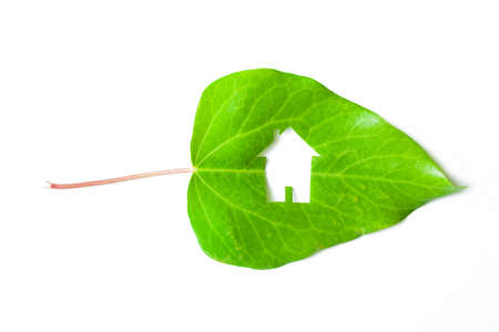 Ecological green house portrayed by a house shaped hole cut from a vibrant green leaf on white background  photo