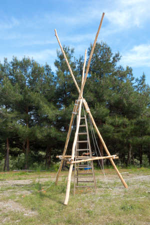 Scout wooden watch tower in nature