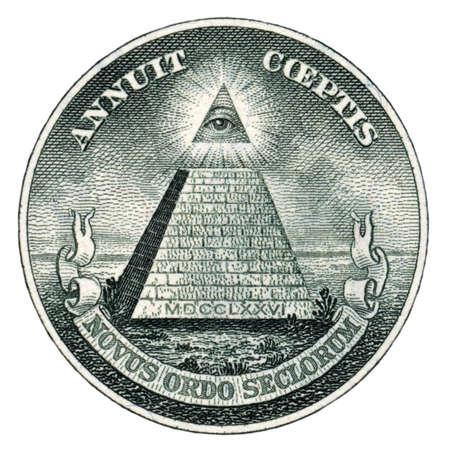 白で隔離米ドルで米国のシールのマクロ撮影