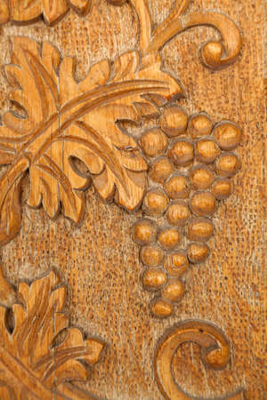 Byzantine designs on Orthodox wooden church door photo