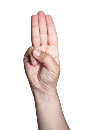 Scout eer hand gebaar op wit wordt geïsoleerd