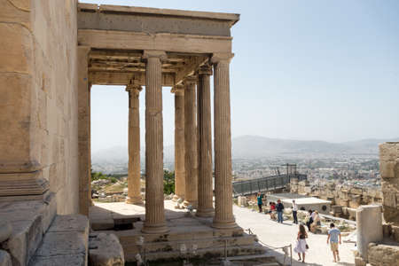 ATHENS, GREECE - MAY 15: The top of the Acropolis of Athens on May 15, 2014 in Greece. The Acropolis of Athens is an ancient citadel located on a high rocky outcrop above the city of Athens.