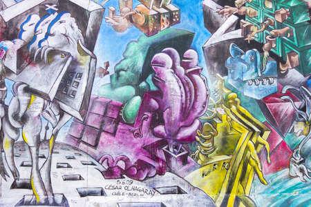 BERLIJN, DUITSLAND-15 februari: East Side Gallery in Berlijn graffiti op februari 15,2014 in Berlijn. Het is een 1,3 km lang gedeelte van de originele Berlijnse muur die instortte in 1989 en nu is de grootste ter wereld graffiti gallery
