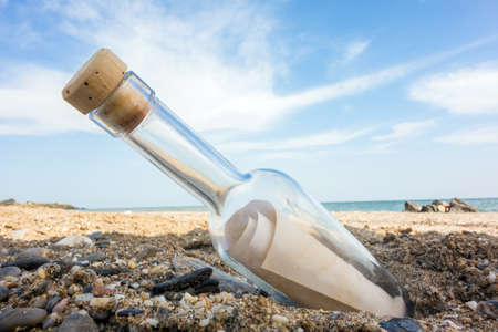 corked: Bottle with a message on the beach