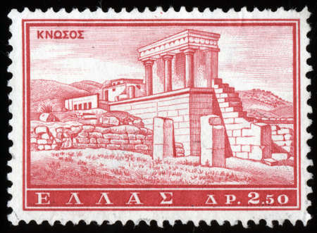 GREECE - CIRCA 1961: A stamp printed in Greece from the Tourist Publicity issue shows Knossos palace, circa 1961. Stock Photo