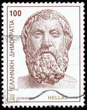 GREECE - CIRCA 1998: A postage stamp printed in the Greece shows bust of ancient Greek Tragedian Sophocles, circa 1998   Stock Photo