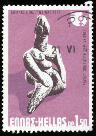 neolithic: GREECE - CIRCA 1975: A stamp printed in Greece from the International Womens Year issue shows Neolithic Goddess, circa 1975.