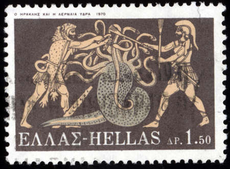 GREECE - CIRCA 1970: A stamp printed in Greece, shows the image on the amphora, the battle of Hercules with Lernaean Hydra, circa 1970