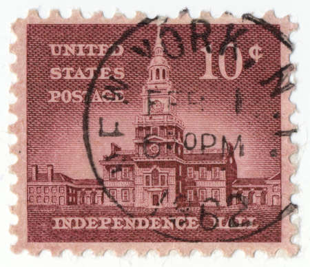 usps: USA - CIRCA 1950: A stamp printed in USA shows image of the dedicated to the Independence Hall circa 1950.