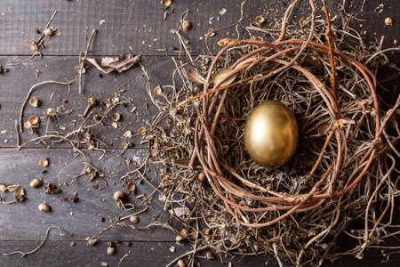 nest: Golden egg in nest on dark vintage wooden background