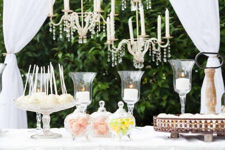 wedding reception decoration: Candy bar at wedding reception