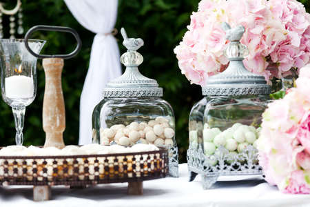 Candy bar op de bruiloft receptie