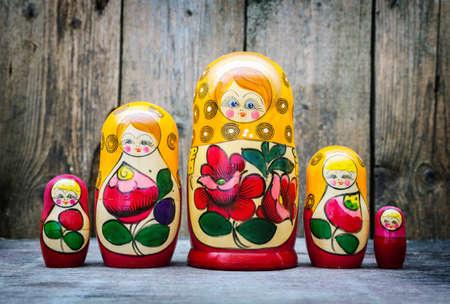matryoshkas: Russian nesting dolls ( babushkas or matryoshkas ) Retro filter  Stock Photo