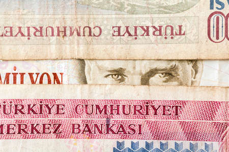 mustafa: Close up of old banknote. Issued to honor Mustafa Kemal Ataturk who founder Turkish Republic