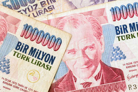 kemal: Close up of old banknote. Issued to honor Mustafa Kemal Ataturk who founder Turkish Republic
