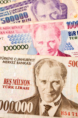 Close up of old banknote. Issued to honor Mustafa Kemal Ataturk who founder Turkish Republic  photo