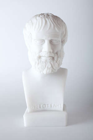 Greek philosopher Aristotle (384–322 B.C.E.) sculpture on white background  photo