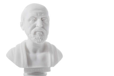 hippocrates: Hippocrates (460–380 B.C.E.) Ancient Greek physician, traditionally regarded as the father of medicine. Sculpture isolated on white background