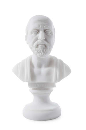 hippocratic: Hippocrates (460–380 B.C.E.) Ancient Greek physician, traditionally regarded as the father of medicine. Sculpture isolated on white background