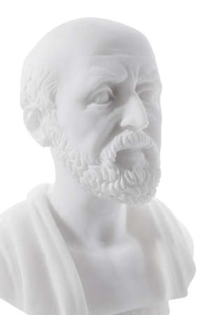 regarded: Hippocrates (460–380 B.C.E.) Ancient Greek physician, traditionally regarded as the father of medicine. Sculpture isolated on white background
