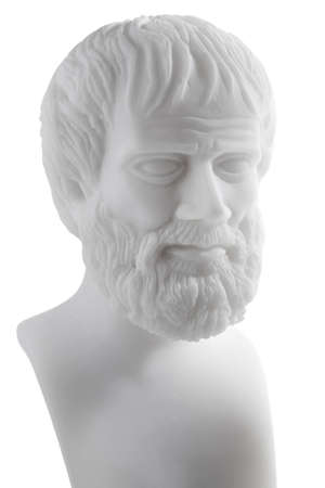 Greek philosopher Aristotle (384–322 B.C.E.) sculpture isolated on white background  Stock Photo