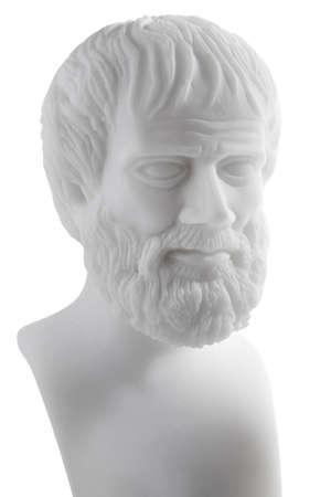 Greek philosopher Aristotle (384–322 B.C.E.) sculpture isolated on white background  photo