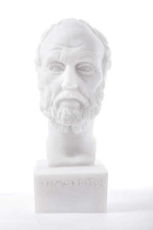 theorist: Greek philosopher Democritus (460–370 B.C.E.) sculpture isolated on white background