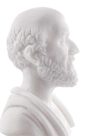 Hippocrates (460–380 B.C.E.) Ancient Greek physician, traditionally regarded as the father of medicine. Sculpture isolated on white background