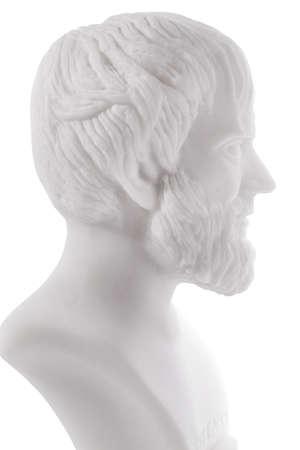 Greek philosopher Aristotle (384–322 B.C.E.) sculpture isolated on white background