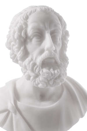 homer: Homer (800–701 B.C.E.) is the author of the Iliad and the Odyssey, and is revered as the greatest of Greek epic poets. Sculpture isolated on white background Stock Photo