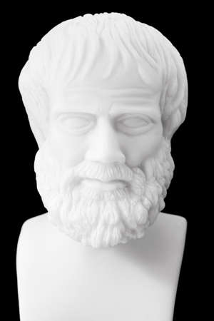 Greek philosopher Aristotle (384–322 B.C.E.) sculpture isolated on black background  Stock Photo - 30400513