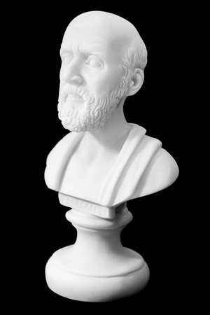 regarded: Hippocrates (460–380 B.C.E.) Ancient Greek physician, traditionally regarded as the father of medicine. Sculpture isolated on black background