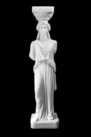 caryatids: Greek ancient statue of the Caryatids on black background