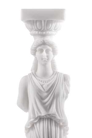 caryatids: Greek ancient statue of the Caryatids on white background