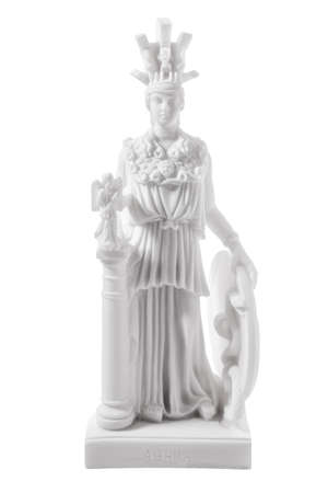 Athena the ancient Greek goddess of wisdom and science, isolated on white background photo
