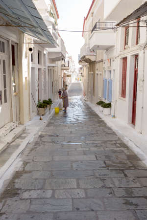 breadth: ANDROS, GREECE - JULY 22, 2014: City of Andros, is the northernmost island of the Greek Cyclades archipelago in the Aegean Sea - area is 380 km2, 40 km long, and its greatest breadth is 16 km.