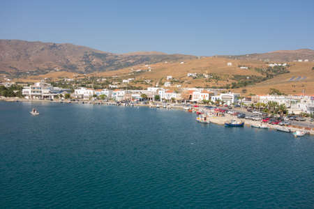 breadth: ANDROS, GREECE - JULY 22, 2014: Marina of Andros, is the northernmost island of the Greek Cyclades archipelago in the Aegean Sea - area is 380 km2, 40 km long, and its greatest breadth is 16 km.